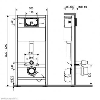 Инсталляция для подвесного унитаза KK-POL PREMIUM с кнопкой M11 хром
