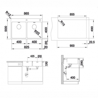 Кухонная мойка Blanco ANDANO 400/400-IF-A