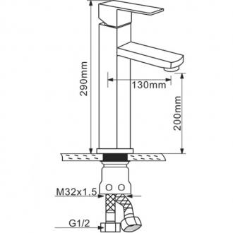 Смеситель для умывальника Melana высокий MLN-F6110