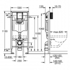 Инсталляция для подвесного унитаза Grohe Rapid SL 38772001 (3 в 1)