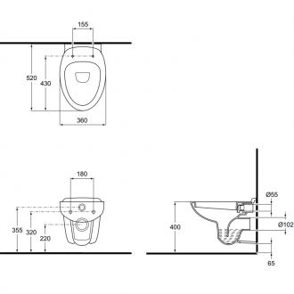 Унитаз подвесной Ideal Standard Escape J243401 с сиденьем J244101